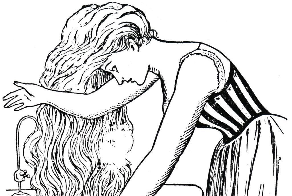 Girl washing hair