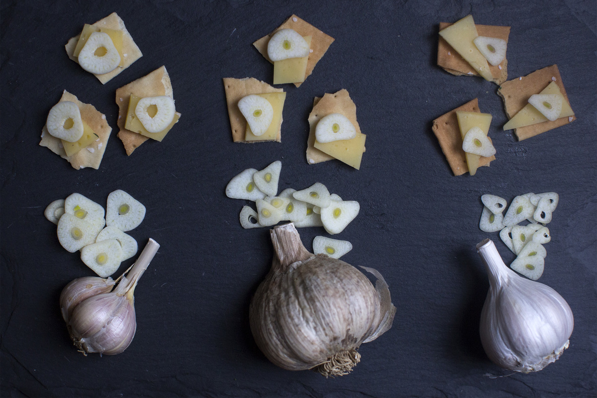 Whole garlic and chopped cloves are placed on crackers with cheese.