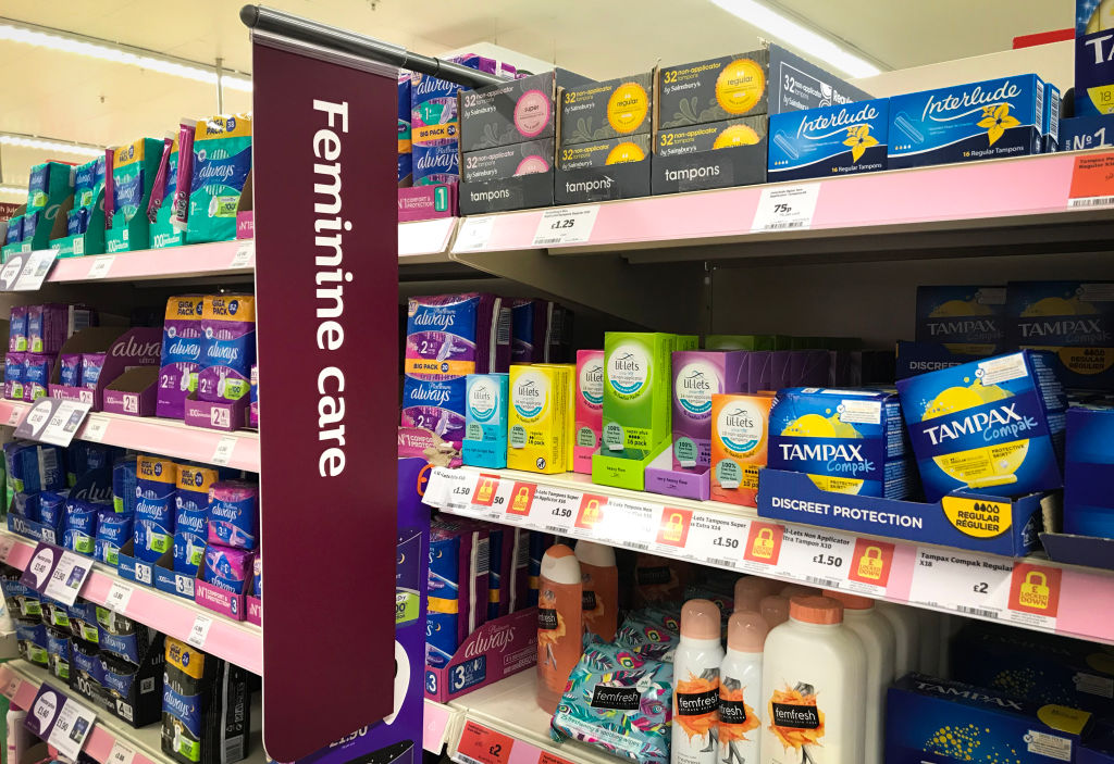 Sanitary products and tampons on sale