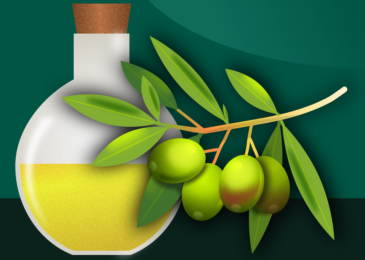 A graphic shows olive oil and fresh olives.