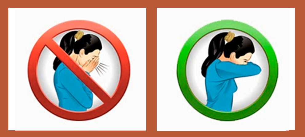 A diagram shows how to correctly cover your cough with your elbow.