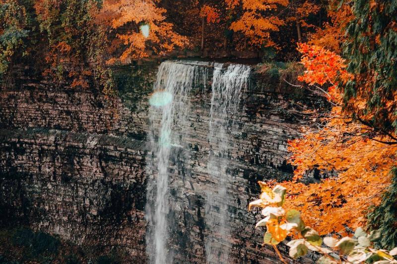 The Dundas Peak waterfall runs.