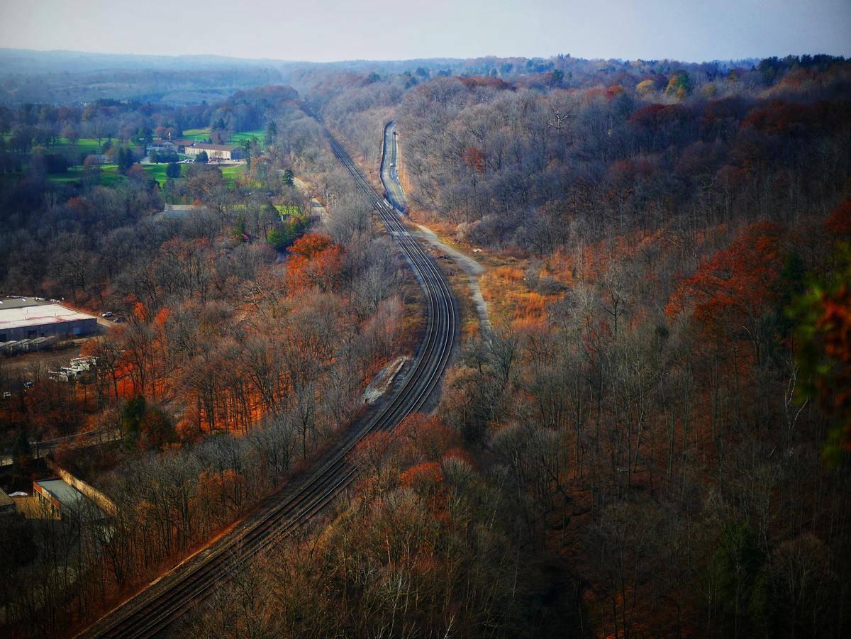 Train tracks run along Dundas Peak.