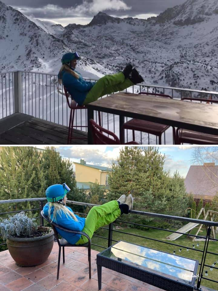woman recreates photo at ski chalet in backyard wearing full gear