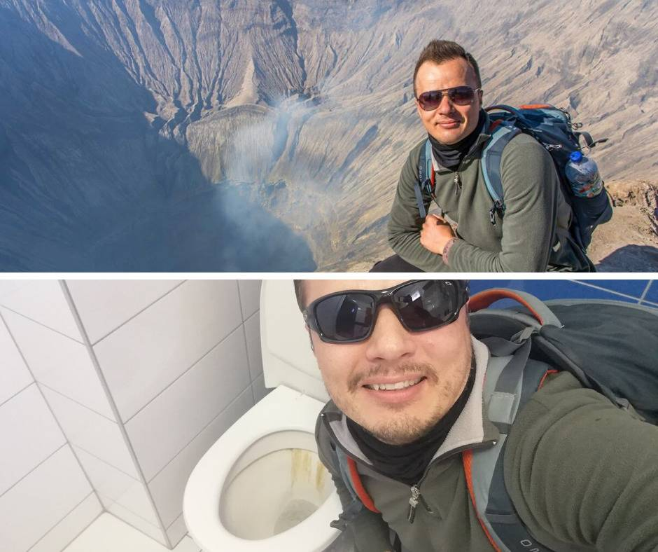 man recreates photo of him by crater using toilet