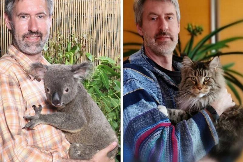 man recreates photo with a koala with his cat
