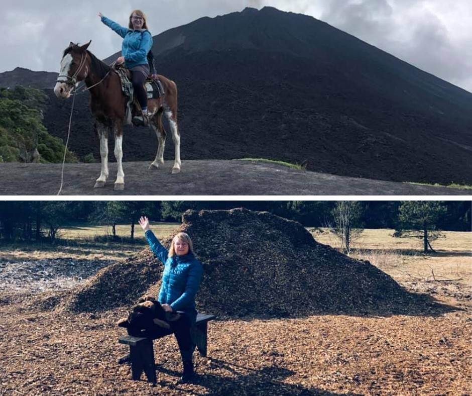 woman recreates photo in front of a mountain using a mulch pile