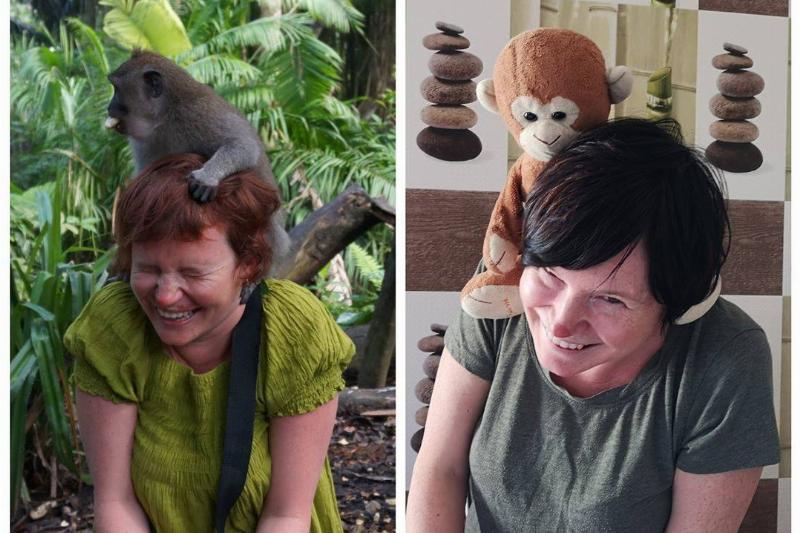 woman recreates photo of monkey on her head using stuffed toy