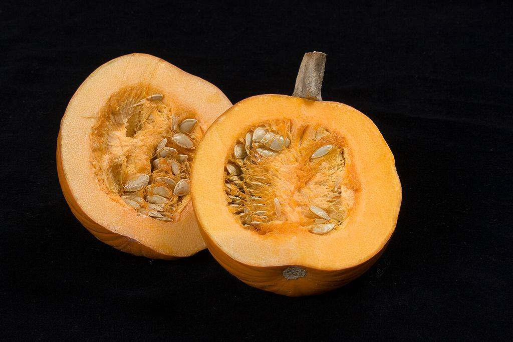 Pumpkin cut in half showing seeds.