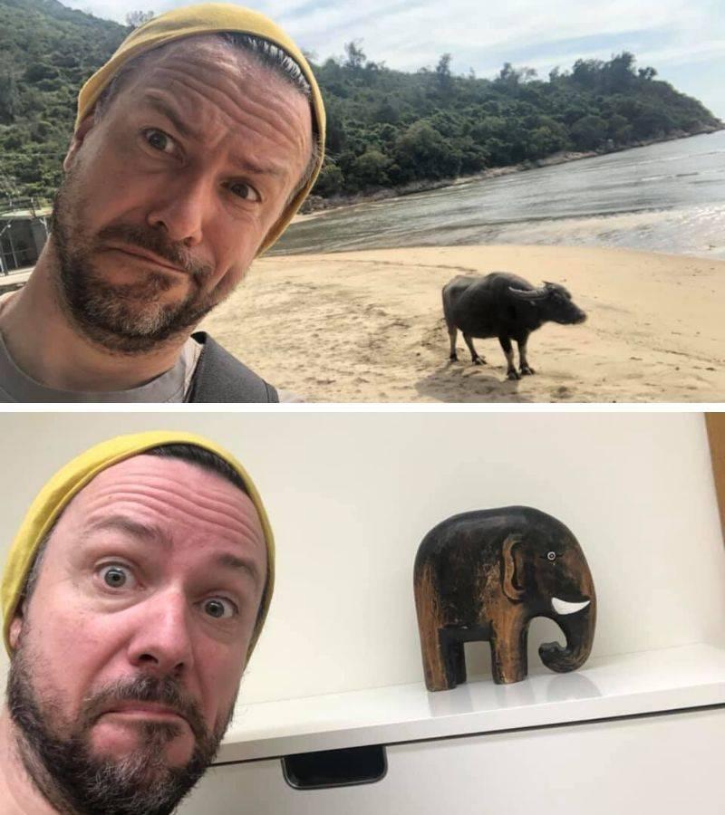 man recreates photo with animal using wooden elephant statue