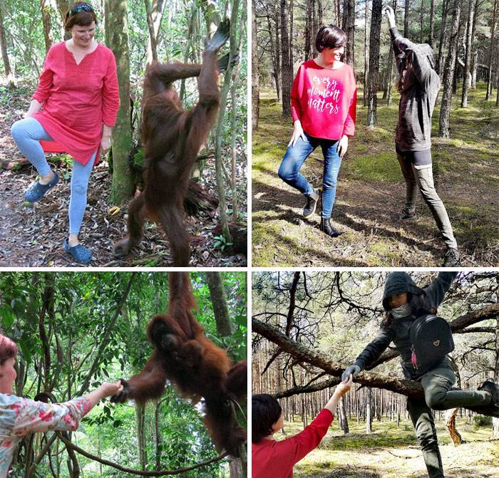 woman recreates photos with chimpanzee with daughter wearing hoodie