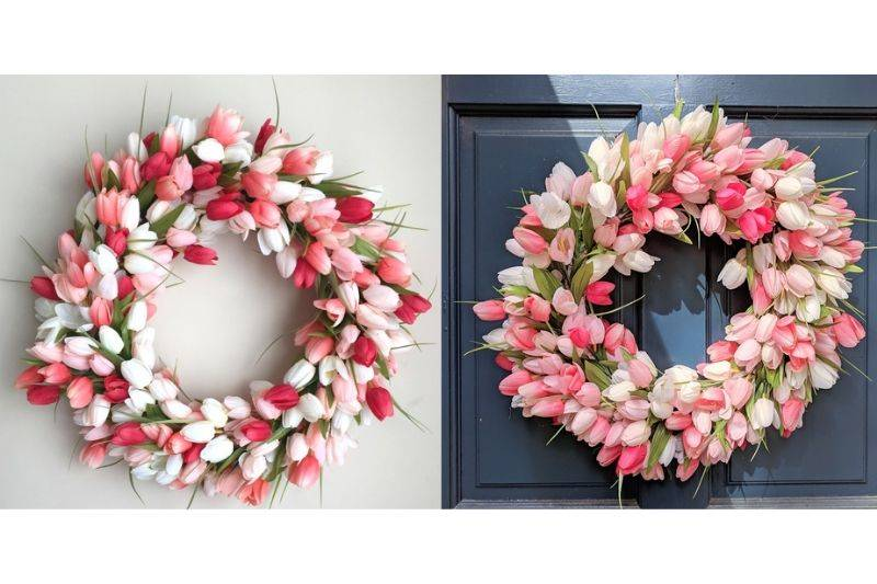 a wreath made out of tulips