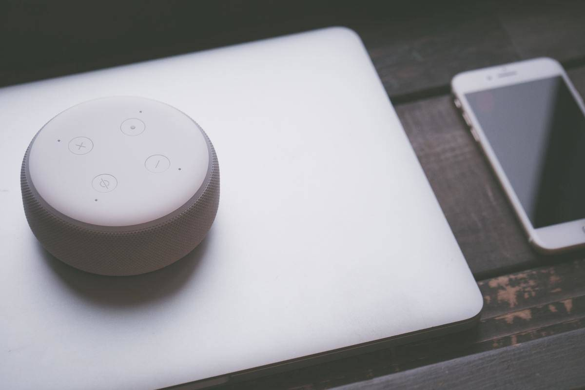 alexa speaker sitting on laptop