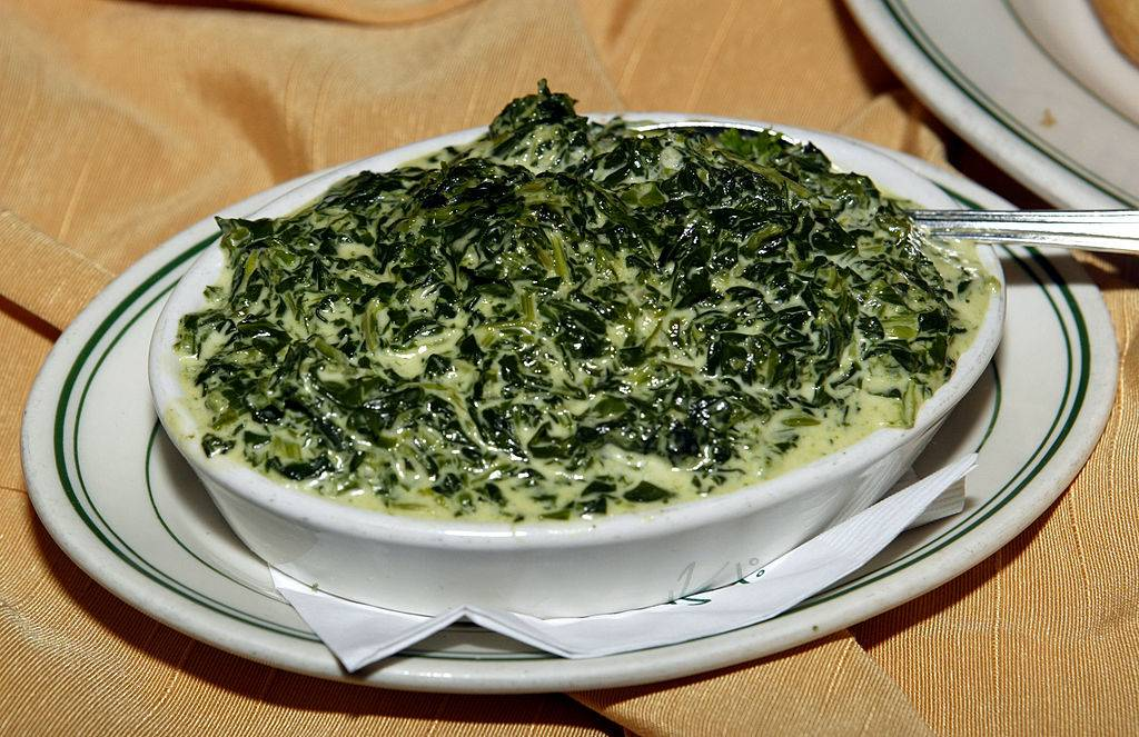 creamed spinach in a bowl