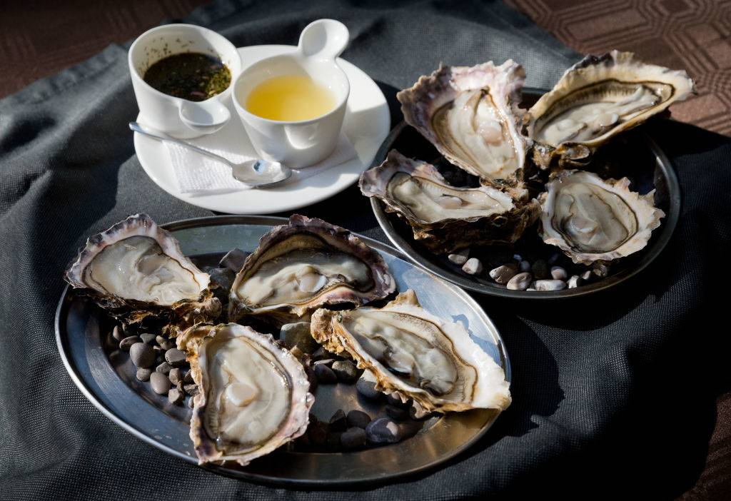 oysters on plates with dipping sauces