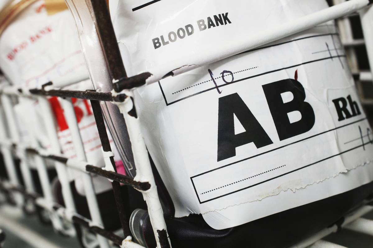 A blood bank carries AB blood.