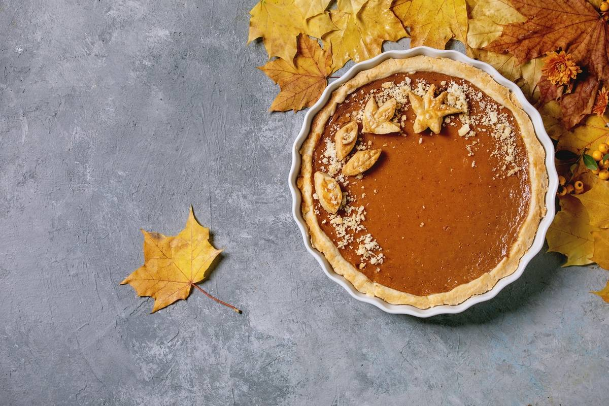 A homemade pumpkin pie is pictured.