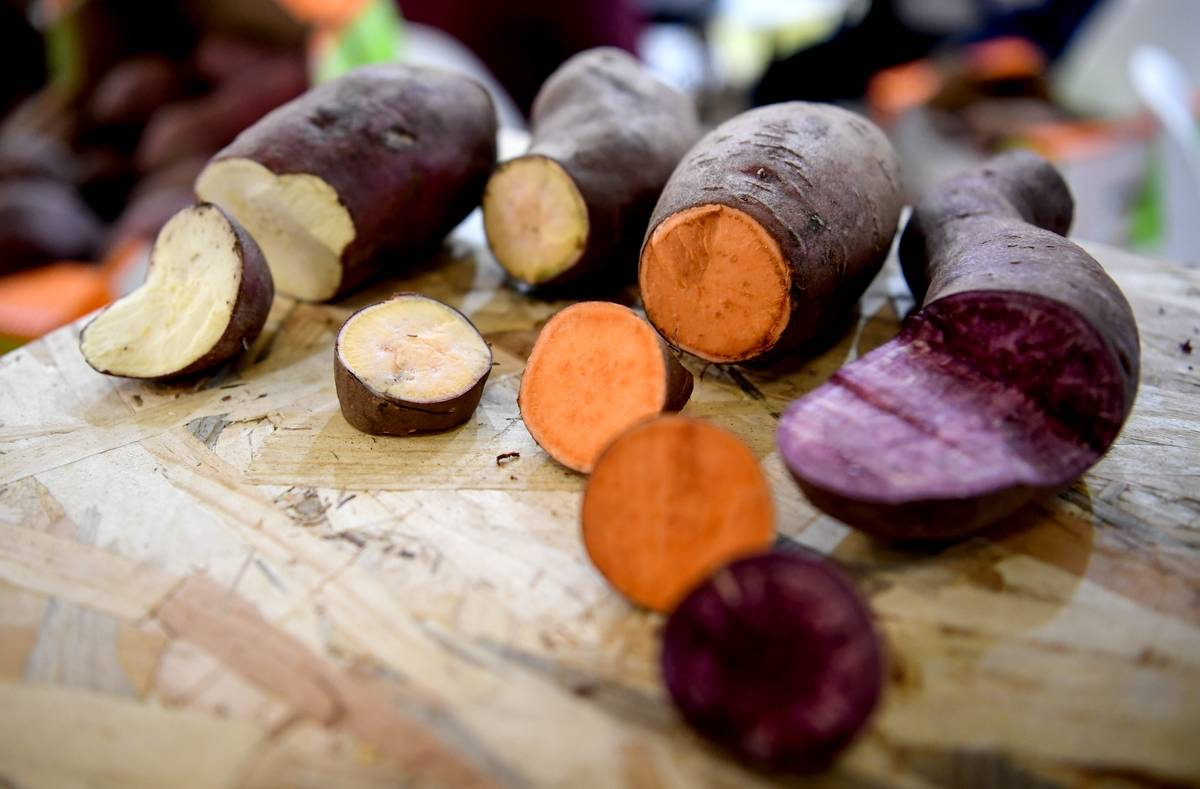 Different varieties of sweet potatoes are sliced on a cutting board.