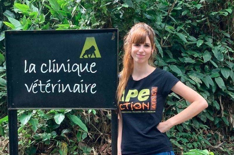 a woman wearing a shirt saying ape action africa