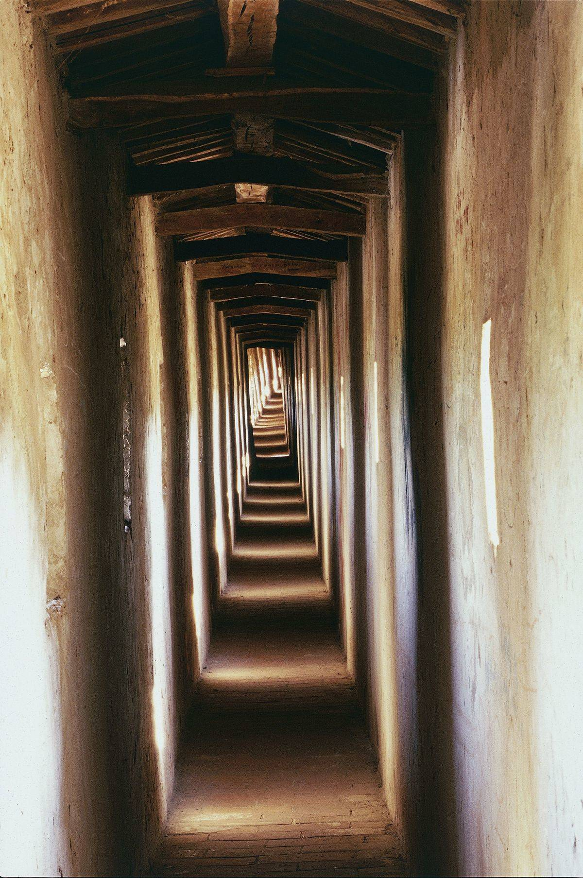 A narrow passageway is seen.