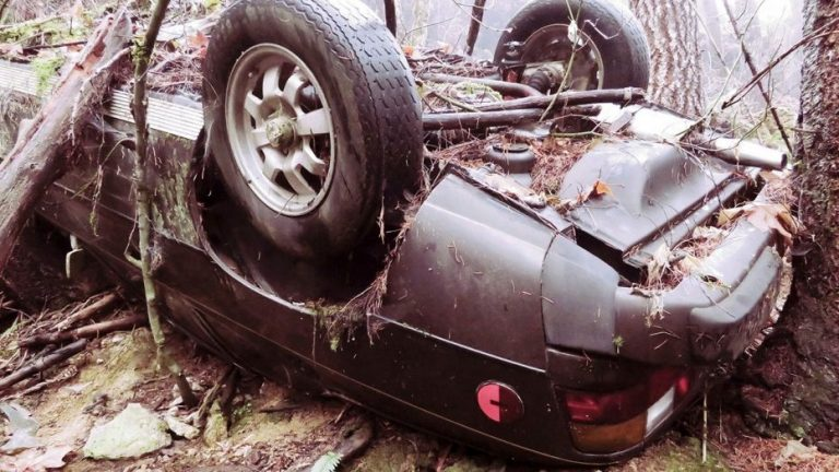 the porsche pverturned in the woods