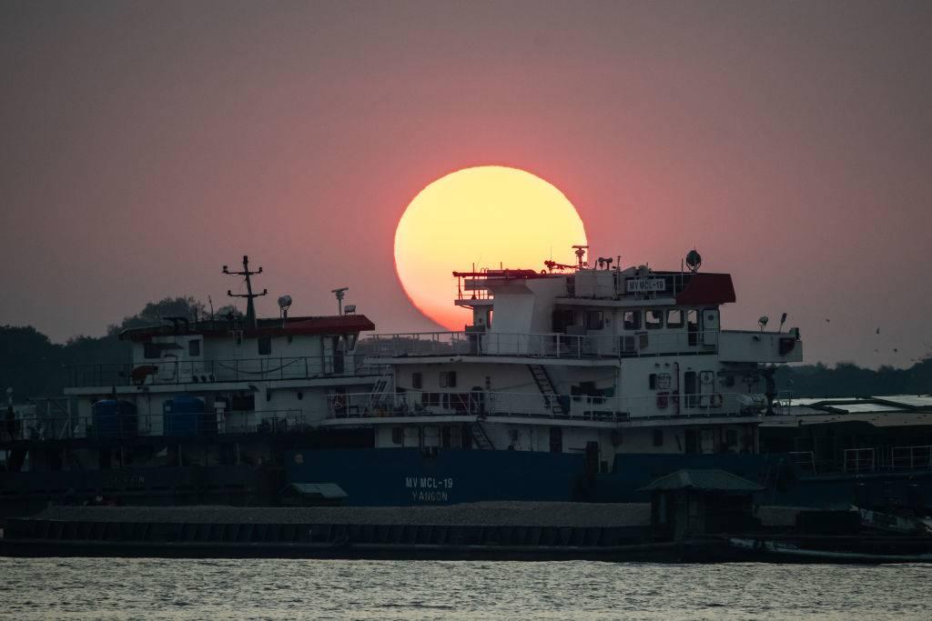 A view of sunset in Yangon, Myanmar