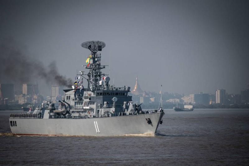 The general view of Myanmar Navy warship