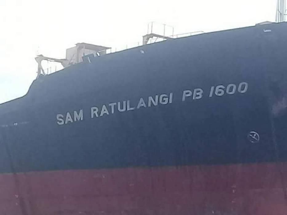 sam ratulangi pb 1600 written on the side of the ship
