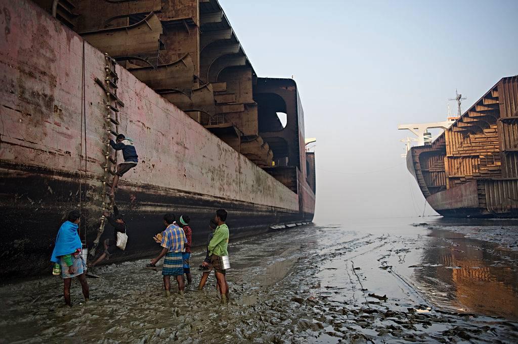people at a ship yard in bangladesh