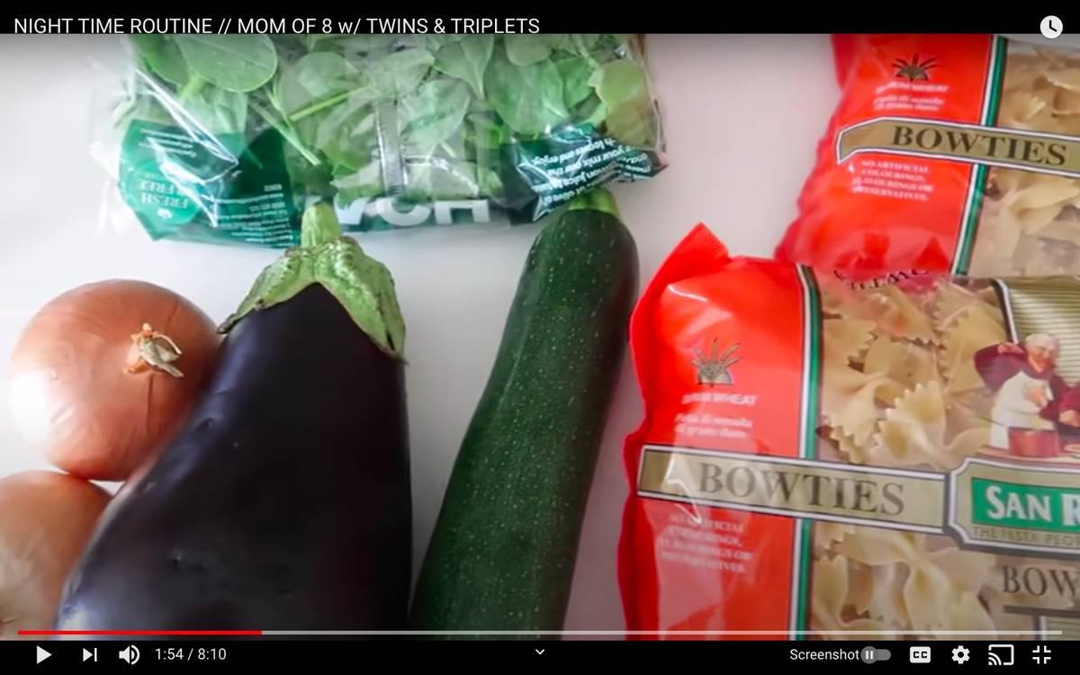 fresh veggies and pasta