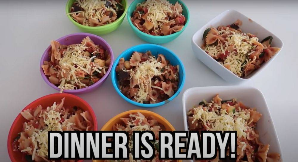 dinner is ready with pasta dishes