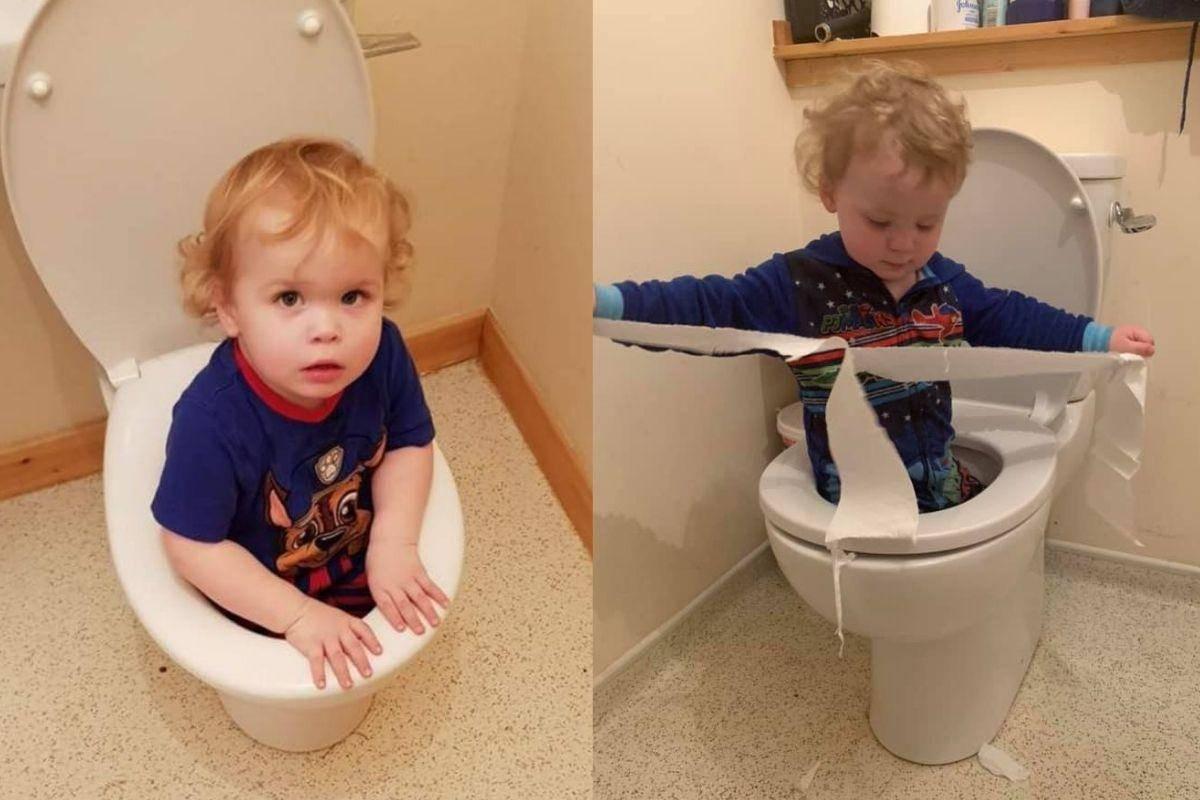 brett child in the toilet bowl