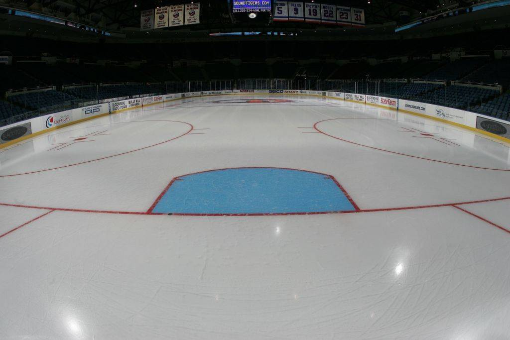 the ice surface of an arena