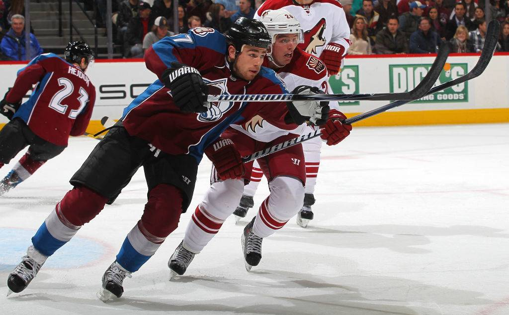 Ryan O'Reilly #37 of the Colorado Avalanche skates against his brother Cal O'Reilly #26 of the Phoenix Coyotes