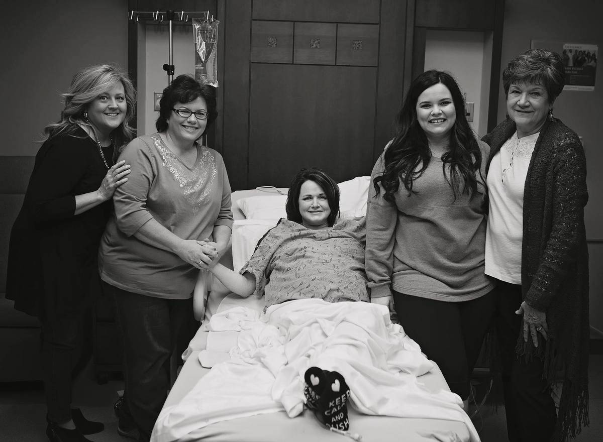 patty in the hospital with Kayla and friends