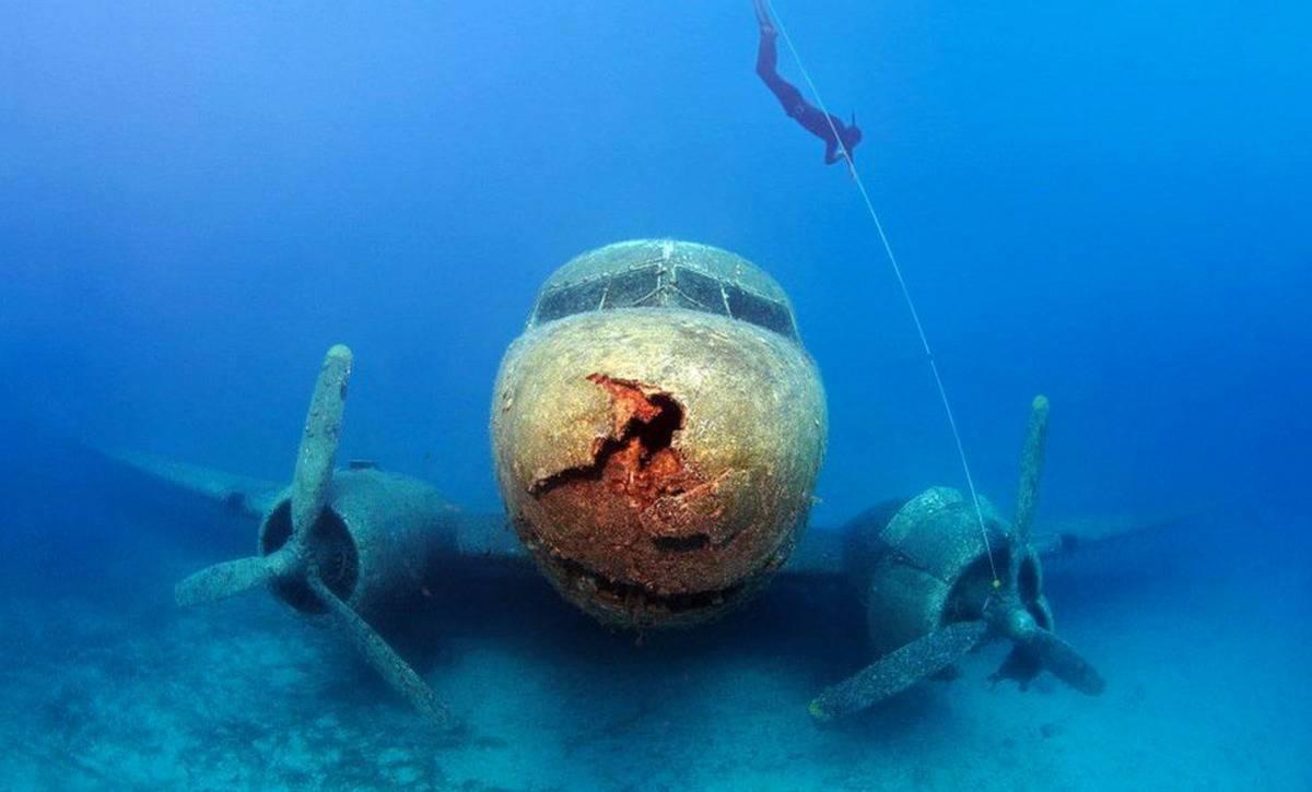 A diver swims down toward a sunken Douglas DC3.