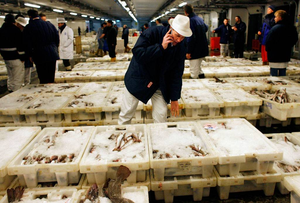 worker talking on the phone at a fish market
